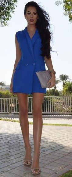 #summer #fashionistas #laurabadura #klaudiabadura |  Blue Blazer Dress