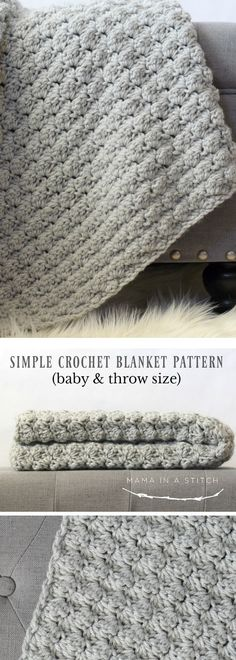 This super easy crocheted blanket can be made as a baby blanket or an afghan. It's so pretty! #free pattern