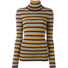 I'M Isola Marras striped turtleneck jumper ($223) ❤ liked on Polyvore featuring tops, sweaters, orange, orange top, polo neck sweater, turtle neck jumper, print sweater and turtle neck top