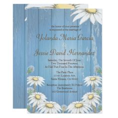 Rustic Wood and Daisies Wedding Card