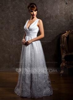 A-Line/Princess V-neck Floor-Length Satin Tulle Wedding Dress With Lace (002012597) - JJsHouse