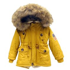27.19$  Buy here - http://aimab.worlditems.win/all/product.php?id=32781622266 - 2-7T girls boys coats and jackets 2016 autumn winter Korean boys USA flag hooded coat thick cotton warmer kids winter coat girls