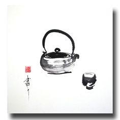 Thé Zen (Zen tea), Chinese ink on rice paper  Jean-Marc Moschetti