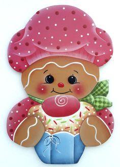 HP GINGERBREAD FRIDGE MAGNET  pink hat