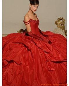 Robe de mariée rouge avec des cristaux et col en V
