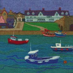 """Seahouses Harbour"" £2.50 Square Greetings Card (145mm x 145mm) Printed on thick card, blank inside & supplied in cello with white envelope. Free UK postage & packing."