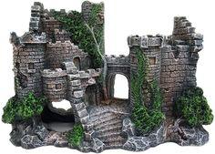 Dieses Aquarium Handwerk ist aus sicherem, haltbarem Harz hergestellt. Dieses umweltfreundliche Harzmaterial ist ungiftig, schadstofffrei und für die Fisch- und Wasserqualität unbedenklich. Es wird nicht im Wasser verblassen. Diese Aquariumdekoration zeigt ein prächtiges Steinschloss mit Moos an der Wand. Die exquisiten Steindetails vermitteln ein realistisches Gefühl. Die Größe dieser Aquariumverzierung ist 21X15X9 cm. Fish Tank Supplies, Pet Supplies, Jackson 5, Lego City, Chateau Medieval, Diving Helmet, Aquarium Ornaments, Aquarium Fish Tank, Fairy Houses