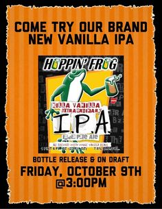 mybeerbuzz.com - Bringing Good Beers & Good People Together...: Hoppin' Frog Killa Vanilla IPA Coming 10/9