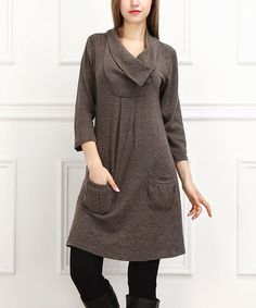 This Brown Pocket Dress is perfect! #zulilyfinds nice detailing on the top and love the pockets.
