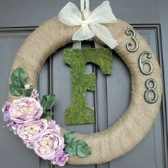 Beautiful wreath to decorate for spring!  Personalize by adding your monogram!