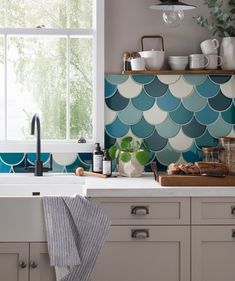 Syren™ Blue Green and White Mermaid Scale Tiles | Topps Tiles