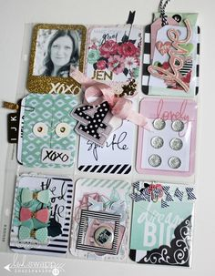 pocket letters heidi swapp style  ~~~add charms and ribbons to the top binder hole that coordinate.
