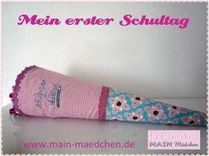 Schultüte Cherrypicking  mit Stickerei aus Stoff von Main Mädchen auf DaWanda.com