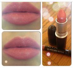 "MAC - in ""Fanfare"" cream sheen lipstick with NYX- ""Peekaboo Neutral"" slim lip pencil"
