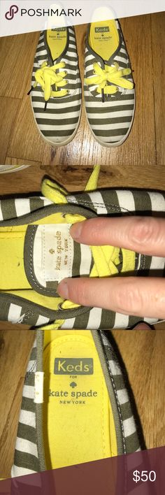 Kate spade keds Olive green striped kate spade keds with yellow laces kate spade Shoes Sneakers