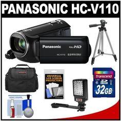 Panasonic HC-V110 Full HD Digital Video Camera Camcorder (Black) with 32GB Card + Case + Tripod + LED Video Light + Accessory Kit