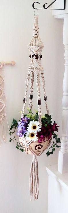"Macrame hanging planter, birdcage, macrame plant hanger, 52"" PEARL, macrame pot holder, modern macrame plant hanger, wedding decor, large"