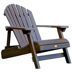 Get this Highwood Hamilton Folding and Reclining Adirondack Chair, which is made with Highwood synthetic wood and perfect for your outdoor beach home patio.