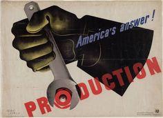 """America's Answer! Production 1942 Técnica: Litografia Dimensão:30 x 40"""" (76.1 x 101.5 cm)"""