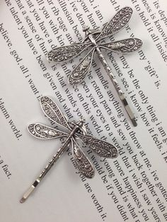 Dragonfly Bobby Pins Set of Two Antique Silver Nickel by glamMKE