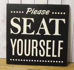 Please Seat Yourself/Bathroom Sign/Bathroom Humor/Bathroom Decor/Restroom/Wood  Sign/Bathroom/Home decor/Funny/Wood Sign/Black/Ivory
