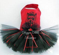 Dog Tutu Dress Yorkie Red XS Small or Medium by DoggieDivaBoutique Cheap Dog Clothes, Girl Dog Clothes, Large Dog Clothes, Dog Christmas Clothes, Christmas Dog, Small Dog Clothes Patterns, Dog Closet, Dog Tutu, Old Shirts