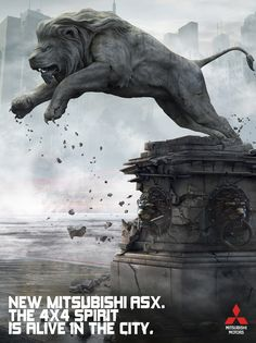 The wiz had the lion come out of a stone statue at the library. I like the concept of the lion having the ability to shift into stone. Social Design, 4x4, Stone Lion, Mitsubishi Motors, Creative Advertising, Lion Tattoo, Narnia, Fantasy Art, Concept Art