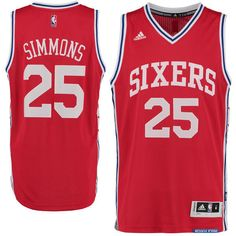 NEW Adidas Swingman Ben Simmons Jersey Mens Authentic NBA 76ers Sixers  25  Red  adidas bf46dea99