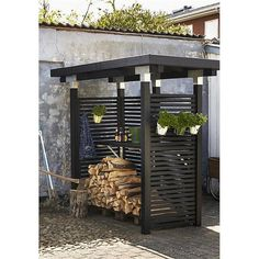 Post connector, for beams 12 cm x 12 cm, corner model, hot-dip galvanized post, build your own pergola Outdoor Firewood Rack, Firewood Shed, Firewood Storage, Back Gardens, Outdoor Gardens, Pergola Images, Free Standing Pergola, Yard Design, Outdoor Projects