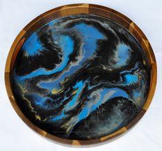 Deep Blue Sea - Resin Art Tray Serving Tray Wood, Deep Blue Sea, Acacia Wood, Sea Foam, Resin Art, Art Pieces, Gems, Handmade, Hand Made