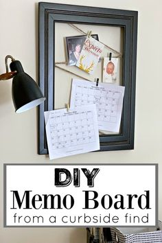 DIY Memo Board from a Curbside Find - How to make this easy DIY memo board from a found frame and jute twine. Perfect for hanging photos or calendars. #diy #diyproject #memoboard #thriftyproject