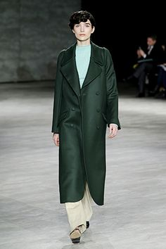 29 Runway Outfits We Want To Wear NOW #refinery29  http://www.refinery29.com/fall-outfits#slide1  This green, colorblocked palette is all about this perfect jewel-toned coat at Creatures of the Wind.