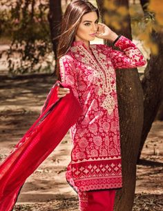 Khaadi Red Pakistani Cotton Lawn Suit With  Dupatta B15539B