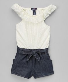 Look at this Limited Too Vanilla Ruffle Romper - Infant, Toddler & Girls on #zulily today!