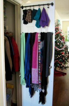 Add a rod on your closet door for hats gloves, scarves and more. Closet Organizing Hacks and Tips. Home Improvement and Spring Cleaning Ideas for your Nest. Ideas on Frugal Coupon Living.