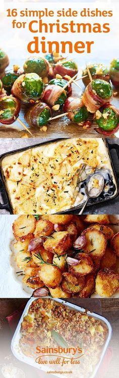 Wrap Brussels sprouts in bacon, crisp up those potatoes and douse everything in gravy. This is the ultimate collection of simple side dishes to make the perfect Christmas dinner. These tasty recipes are really easy and are the perfect accompaniment to you Xmas Food, Christmas Cooking, Christmas Entertaining, Christmas Buffet, Plat Simple, Holiday Recipes, Christmas Dinner Recipes, Xmas Dinner Ideas, Christmas Lunch Ideas