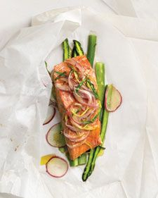 // Lemon-Tarragon Salmon Over Asparagus