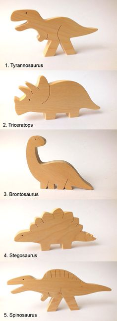 Handmade wooden toy set.  Our toys are safe, ecological, natural and long lasting. Simple design, playful figures are perfect for little hands to hold and use in play. Let your child use their imagination & have fun creating their own story!  You can choose any 2, 3, 4 or all 5 dinosaurs.  1. Tyrannosaurus - 15,5 x 8 x 2 cm / 6 x 3 x 0.8  2. Triceratops - 14,5 x 7 x 2 cm / 5,7 x 2.8 x 0.8  3. Brontosaurus - 14 x 11,5 x 2 cm / 5.5 x 4.5 x 0.8  4. Stegosaurus - 15 x 7 x 2 cm ...
