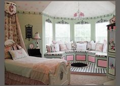 I Just Love The Mint Green & Pastel Pink Colors Along With That Adorable Curved Window Seat...This Would Make A Super Cute Pre-Teen Girls Room...