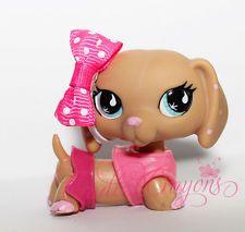 Littlest Pet Shop ❀ LPS ❀ TAN DACHSHUND PINK POLKA DOT BUE EYES # 909 $90