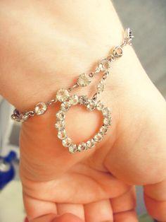 Vintage Rhinestone Dangling Heart Bracelet - Vintage Jewelry by FembyDesign, $15.50