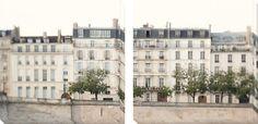 Apartments in Paris along the Seine Canvas Art Set by Irene Suchocki at Art.com
