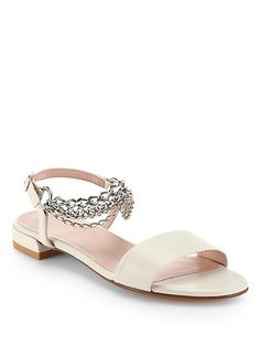 Stuart Weitzman - Chainrule Leather Sandals - Saks.com $355