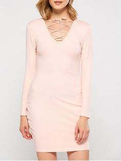 Fashion Lace Up Plunging Neck Bodycon Party Dress