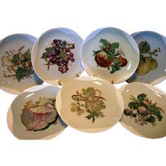 Wonderful Set of 7 Haviland Limoges Plates ~ Basketweave Embossed handpainted by Haviland artist Pallandre. Fruit Motifs ~ Haviland Factory Decorated ~ Haviland & Co 1876-1882.