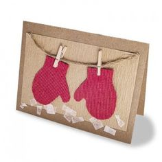 This is a very cute christmas card. If you or a friend are a knitter, you can personally knit the 2D mittens to make it even more special. Also, you can use mini clothespins and mini mittens  for an accent piece in a different card.