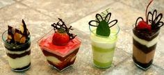 Mini Desserts - One day I want to create the chocolate designs on these. Dessert Party, Mini Dessert Shots, Shot Glass Desserts, Dessert Shooters, Dessert Cups, Eat Dessert First, Flan Dessert, Mini Desserts, Low Calorie Desserts