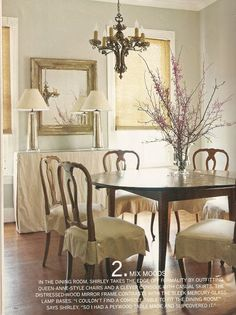 Slip-covered dining room chairs