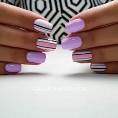 Beautiful nails Gentle summer nails Geometric nails Marine nails Nail art stripes Nails in violet tones nails under violet dress Purple summer nails Nail Art Stripes, Striped Nails, Square Nail Designs, Best Nail Art Designs, Cute Nails, Pretty Nails, Romantic Nails, Wedding Acrylic Nails, Nail Art Design Gallery