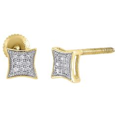 10K Yellow Gold Round Diamond Stud Earrings 0.05 Cttw. Ladies Gold Diamond Stud Earrings. Item in image is smaller than it appears. It is enlarged to show details. Picture on ear will give a very good idea of true size. 10K Yellow Gold, Screw Backs. Round Cut with Pave Setting. I2-I3 Clarity, I-J Color, Approximately 0.5 grams. Comes with Appraisal Certificate (insurance purpose) and Gift Box, 100% satisfaction guaranteed. 30 Day Returns.